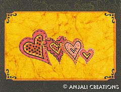 Batik Hearts Greeting card